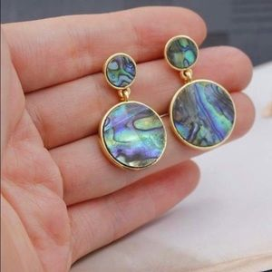 Stunning abalone shell earrings set in gold plate